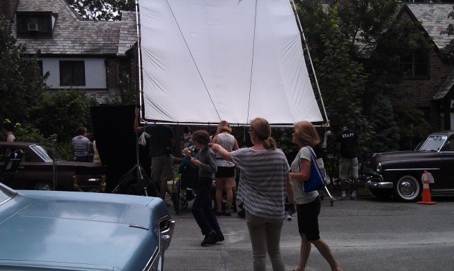 This was taken directly across the street from the filming of a scene in front of a private house.