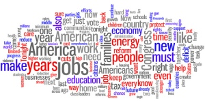 """President Obama's State of the Union Address 2013"", Word cloud image by Kurtis Garbutt"