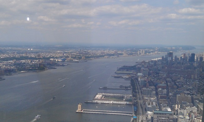 Looking northwest, a wider perspective of the Hudson River.